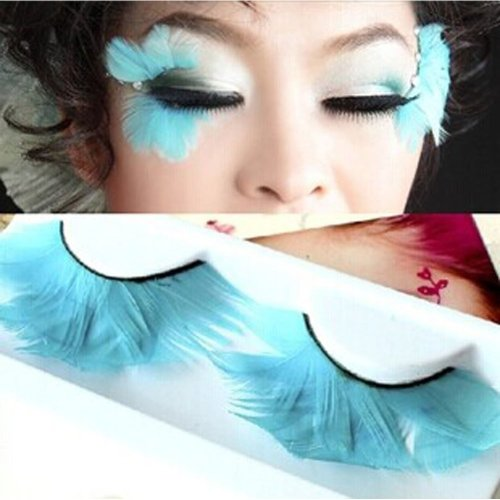 Handmade Stage Performances Exaggerated Blue Feather False Eyelashes 5 Pairs