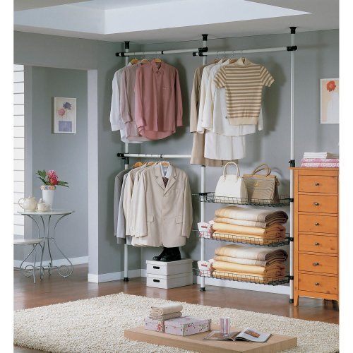 SoBuy FRG34 Adjustable Wardrobe Organiser | Clothes Shelf System