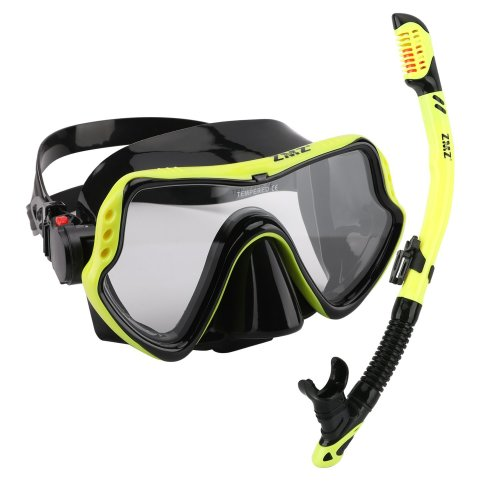 ZMZ DIVE Snorkeling Mask Snorkel Sets, Silicone,Tempered Glass and Adjustable Buckles Diving Mask for Adults (Yellow & Black)