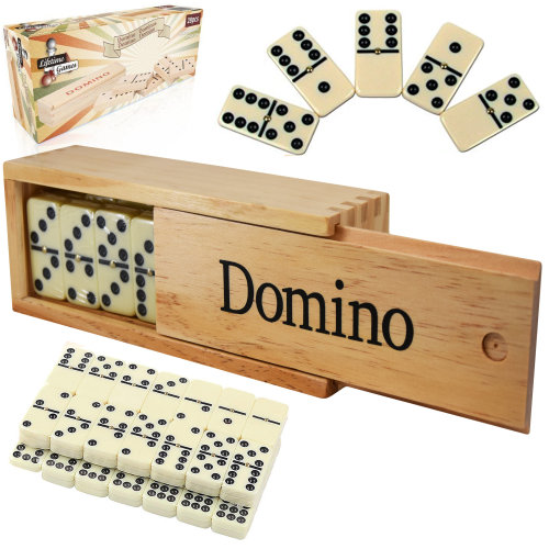 28 Piece Traditional Dominoes Set with Wooden Storage Case