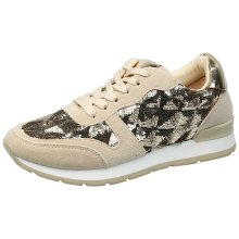 Deanna Womens Flat Lace Up Sequin Trainers