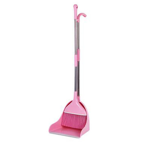 Durable Removable Broom and Dustpan Standing Upright Grips Sweep Set with Long Handle, #B4