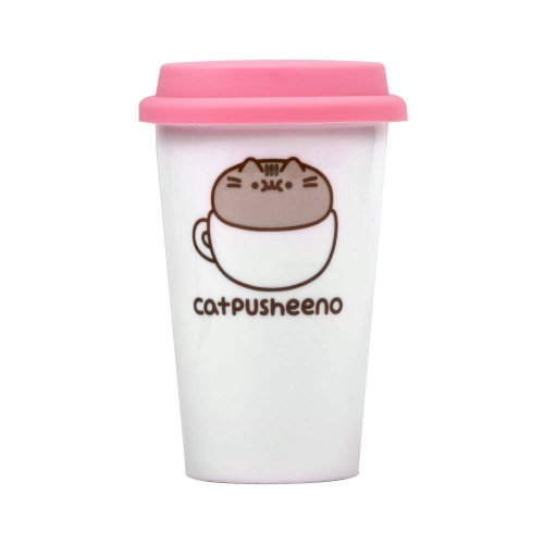 "Pusheen PUSHTRVLMCATP Ceramic ""Catpusheeno"" Travel Mug, White"