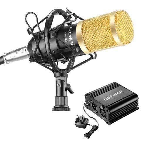 Neewer NW-800 Microphone and Phantom Power kit, Includes:NW-800 Microphone, 48V Phantom Power,Power Adapter, Shock Mount, Anti-wind Foam Cap, XLR...