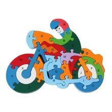 Funny Digital & Letter Wooden Blocks Puzzles Educational Puzzle Motorcycle