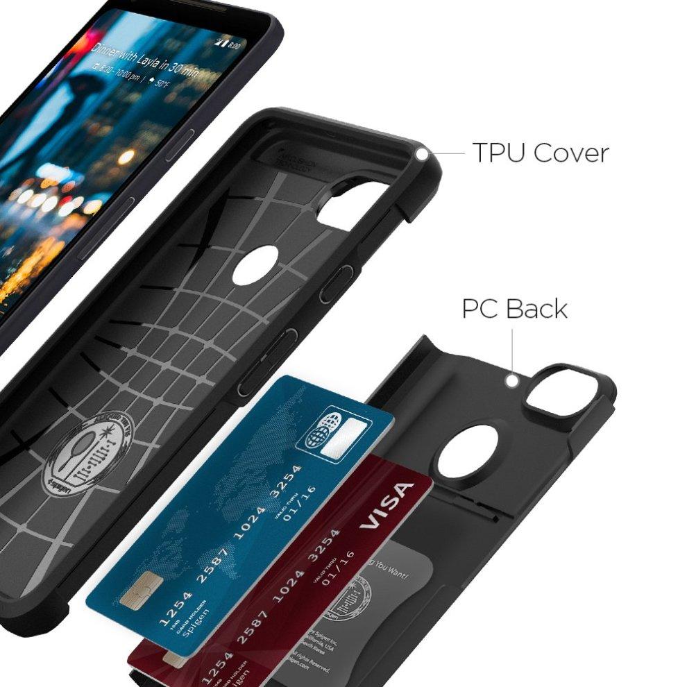 brand new be1b3 6aee3 Google Pixel 2 XL Case, Spigen [Slim Armor CS] [Black] Slim Dual Layer  Wallet Design and Card Slot Holder Phone Case Cover for Pixel 2 XL (2017)  -...