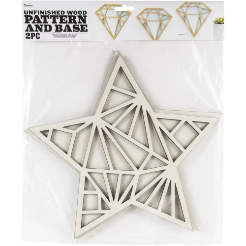 """Unfinished Wood Pattern And Base 2/Pkg-Star 11""""X12"""""""