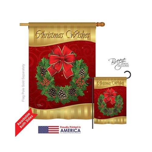 Breeze Decor 14078 Christmas Christmas Wishes 2-Sided Vertical Impression House Flag - 28 x 40 in.