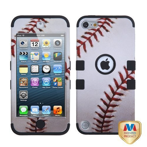 Asmyna Baseball Sports Collection Black TUFF Hybrid Protector Cover for iPod touch 5