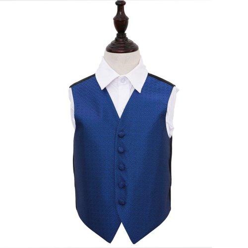 Royal Blue Greek Key Wedding Waistcoat for Boys 34'