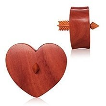 Organic Sawo Wood Arrowed Heart Saddle Plug Flesh Tunnel