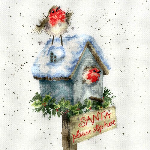 Bothy Threads Cross Stitch Kit - Santa Please Stop Here - XHD55 by Hannah Dale