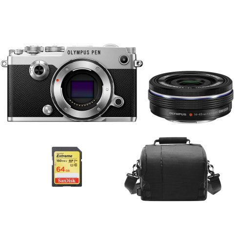 OLYMPUS PEN-F Silver + 14-42mm F3.5-5.6 EZ ED Black + 64GB SD card+Bag