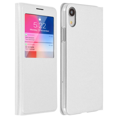 Smart view window flip case for Apple iPhone XR slim cover - White