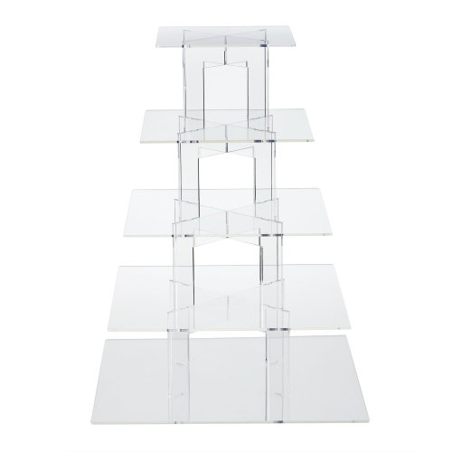 TRIXES Clear Squared 5 Tier Cake Stand for Baking Displays