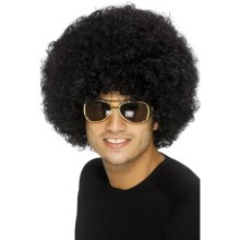 Smiffy's Funky Afro Wig - Black, One Size -  afro wig fancy dress funky black 70s costume unisex disco smiffys clown