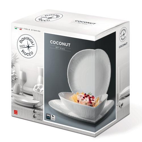 18pc Bormioli Rocco Coconut Dinner Service Set | 18 Piece Dinner Set