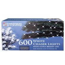 Christmas Workshop 600 LED Chaser String Lights, Bright Contrast White Colour