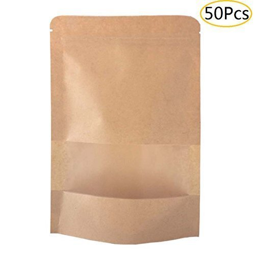 SumDirect 50Pcs Kraft Zip Lock Stand Up Bags Pouches with Notch and Matte Window for Bath Salt ,Dried Food or Tea (12x20cm)