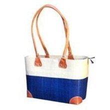 Madagascar Lova Raffia Cream and Blue Handbag