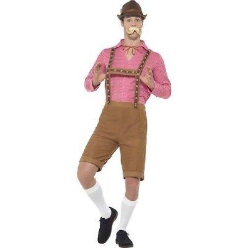 Mr Bavarian Costume, Red & Brown, With Shirt & Lederhosen -  mr bavarian costume mens german oktoberfest fancy dress outfit beer festival