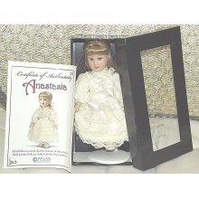 Miniature Porcelain Boxed Doll Mini Porcelain Doll in Cream clothes Vintage