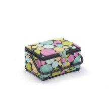 HobbyGift Medium Sewing Box / Basket With Pincushion & Removable Tray - Coloured Dots