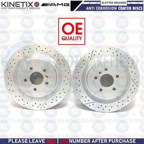 FOR MERCEDES BENZ GLE63 AMG 2015- REAR SLOTTED & GROOVED BRAKE DISCS PAIR 345mm