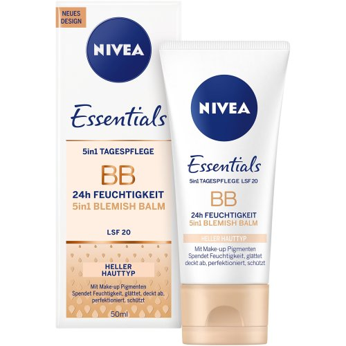 Nivea Daily Essentials BB Cream 5-in-1 Beautifying Moisturiser Light SPF 10, 50ml, Pack of 1