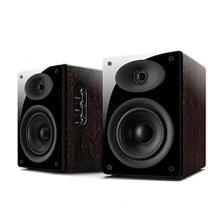 Swan Speakers 2.0 Powered Bookshelf Speaker - Black/Rosewood