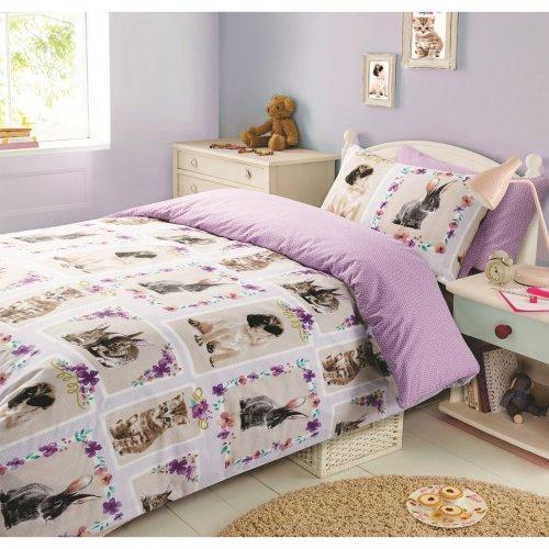 Dreamscene Pet Love Duvet Cover Pillowcase Bedding Set Multi Colour Single 135 X 200 Cm On