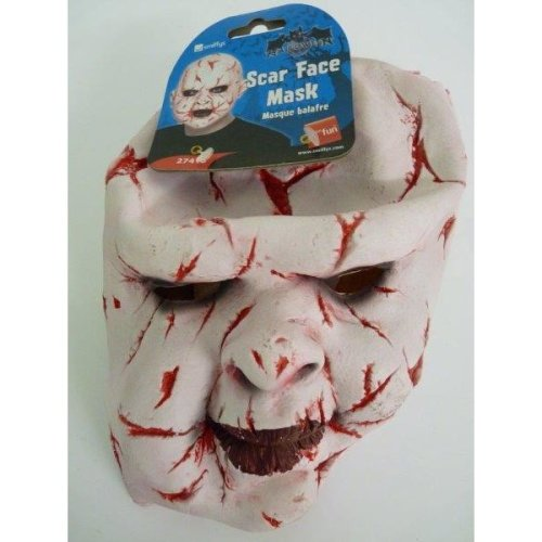 Adult's Halloween Scar Face Mask -  mask Rubber fancy dress scar face overhead halloween adult scarface horror costume accessory zombie