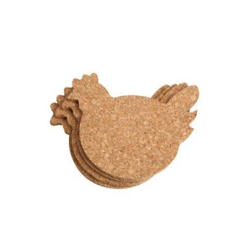 T&G Woodware Chicken Coasters in FSC Certified Cork, Wood, Beige, 14.3x12.6x0.6 cm