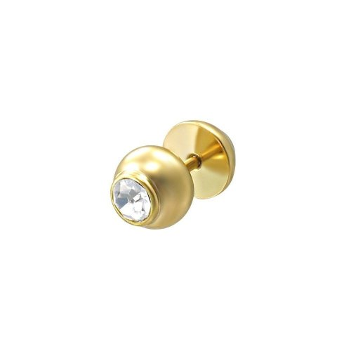 Urban Male Gold Coloured CZ Set Stainless Steel Fake Ear Expander / Plug