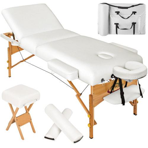 3-zone massage table 10 cm padding + rolls + stool + bag white