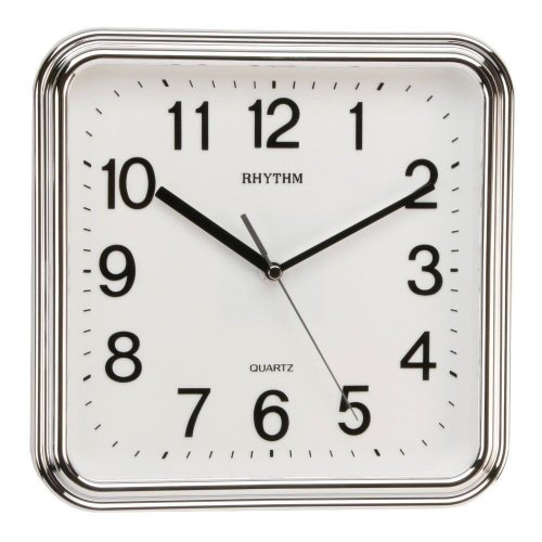 Rhythm Silver-Tone Basic Square Wall Clock