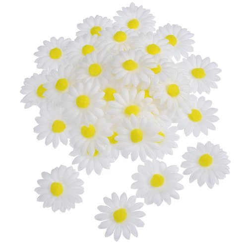 Willbond 50 Pack Fabric Daisies Flower for Easter Bonnet Craft Decorations, Artificial White Craft Fake Flowers, 5 cm Diameter