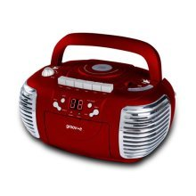 Groov-e Retro Boombox Portable CD, Cassette, Radio Player - Red GVPS813RD (GVPS813RD)