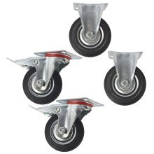 "4"" (100mm) Rubber Fixed and Swivel With Brake Castor Wheels (4 Pack) CST03_05"