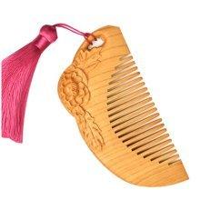 Peony PINK Macrame Pecan Comb  Anti-static Wooden Comb