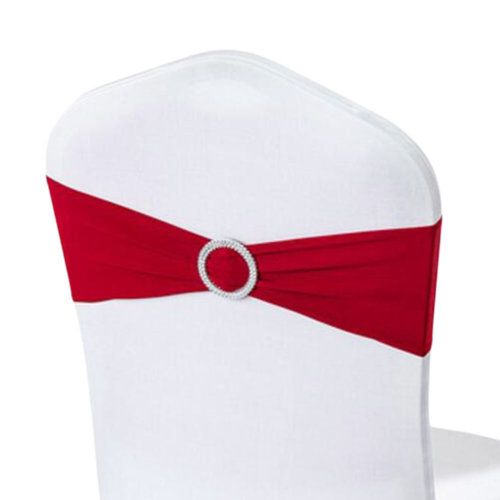 10PCS Chair Back Wedding Bow Sashes Chair Cover Bands With Buckle-Wine Red
