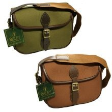 BISLEY shotgun cartridge bag - 75 or 100 capacity - leather and brass fittings