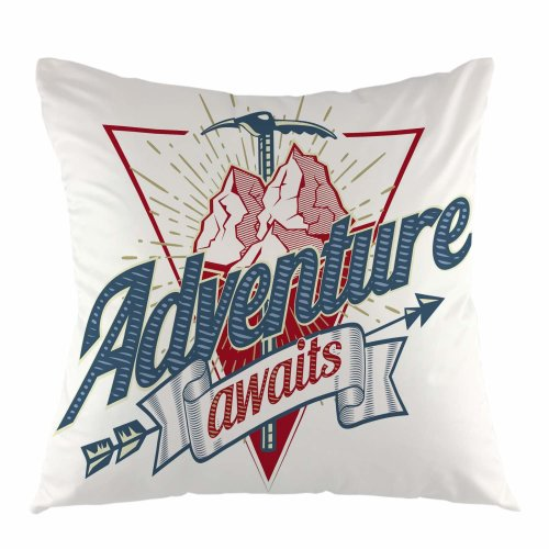 """Melyaxu Adventure Awaits Letter Throw Pillow Cover Mountain Arrow Square Cushion Case for Sofa Couch Car Bedroom Living Room 18"""" x 18"""" inch"""
