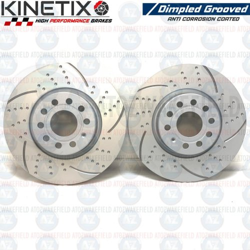 FOR AUDI A3 1.8 TFSI FRONT KINETIX DIMPLED GROOVED BRAKE DISCS PAIR 312mm COATED