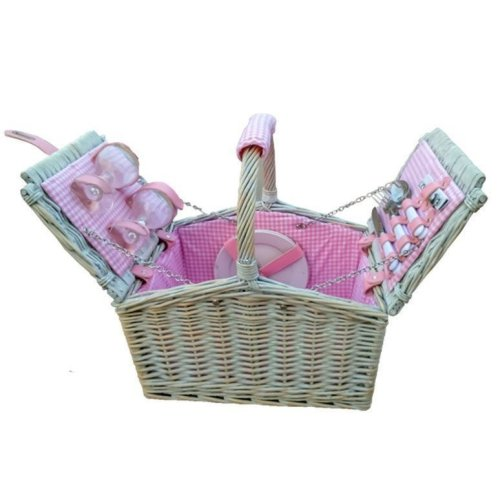 2 Person Farmhouse Fitted Pink Checked Lined Hamper