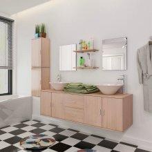 vidaXL 11 Piece Bathroom Furniture Set with Basin with Tap Beige