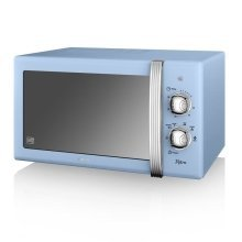 Swan Retro Manual Microwave 20 Litre 800 Watt Power - Blue (Model SM22130BLN)