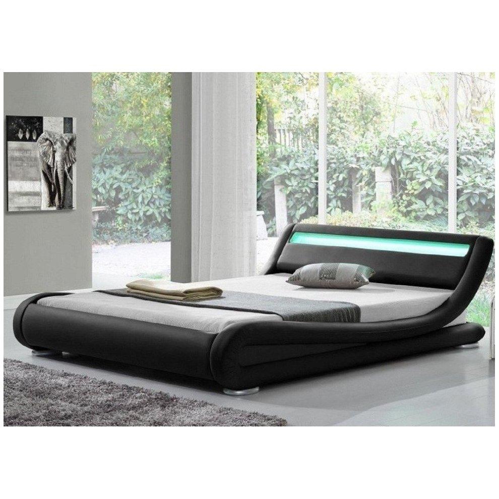 Rio Led Designer Bed Frame Faux Leather Mood Lighting