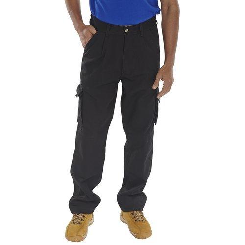 "Click CTRANTBL30T Newark Cargo Trousers Black 30"" Waist Long Leg"