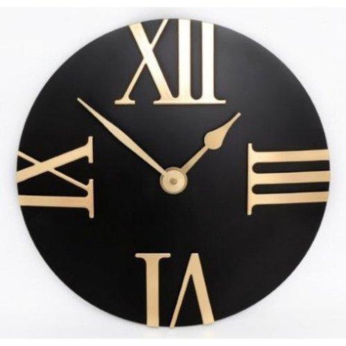 Wall Clock Black and Gold Roman Numerals Round Modern Clock 30cm